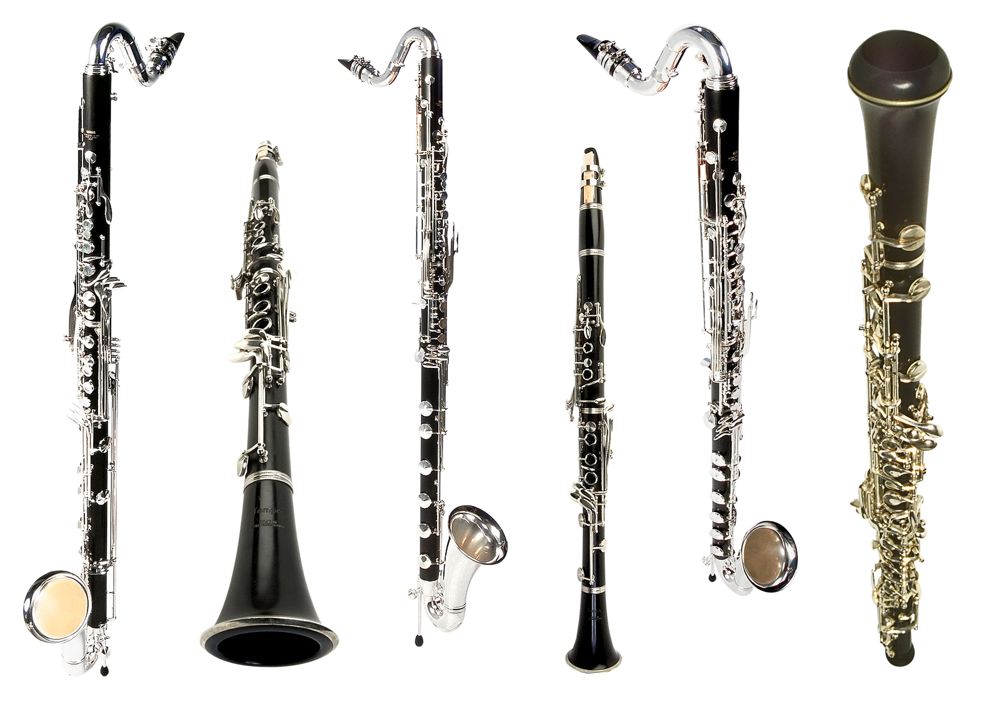 The entire clarinet family of instruments with the bassclarinet